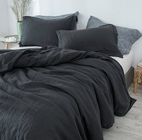 PHF Washed 100% Linen Duvet Cover Set for Summer Soft Breathable Lightweight Cool 3 Pieces King Size Charcoal (King Charcoal Duvet Cover Size)