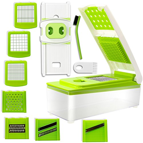Green Vegetable Cutter - Vegetable Slicer Cutter, iLove Cooking [10 in 1] Stainless Steel Adjustable Multi Blades Chopper; Efficient and Fast; Strong-Hold with Cleaning Brush for Onion Potato Tomato Fruit & More Vegetable