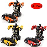 Cartoon Crash Deformation Transforming Robot Car Toy Kids Game Gift Electrical Safety (3pcs, Yellow&Red&Orange)