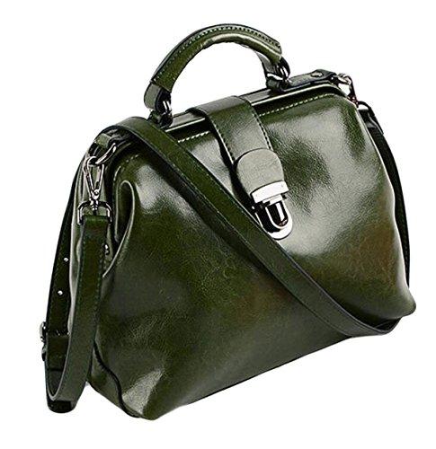 Cuir Pétrole épaule à Main à Cuir En Rétro Sacs Main Docteur Sac Paquet De En green Boucle Messenger Cire Bag q54taa