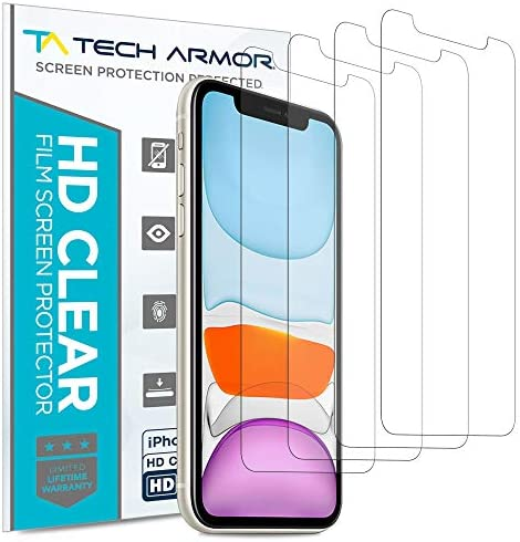 Tech Armor HD Clear Plastic Film Screen Protector (NOT Glass) for NEW 2019 Apple iPhone 11 / iPhone Xr – Case-Friendly, Scratch Resistant, Haptic Touch Accurate [4-Pack]