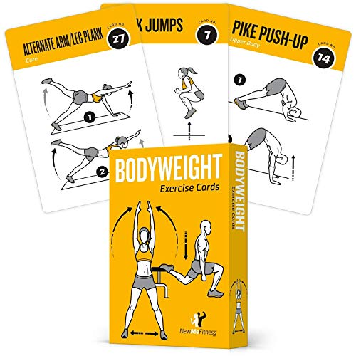 Bodyweight Exercise Cards Home Gym Workout Personal Trainer Fitness Program Guide Tones Core Ab Legs Glutes Chest Bicepts Total Upper Body Workouts Calisthenics Training Routine (Best Home Exercise Routine)