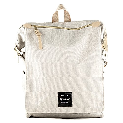 Kjarakär Backpack Best Gift for Women, Girls. Commuter Bag, School & Laptop Bookbag, Laptop Bag, Great Diaper Bag Too! TSA Friendly | Waterproof (Light Grey)
