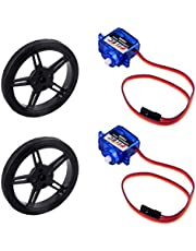 Feetech FS90R 360 Degree Continuous Rotation Micro RC Servo Motor + Tire Wheel for Arduino Microbit Robot (Pack of 2)