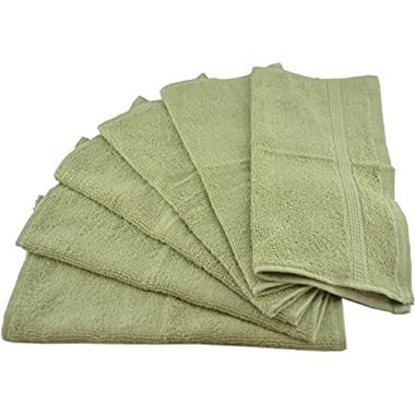 Luxury Cotton Washcloths (12-Pack, Sage Green, 13x13 inches) - Easy Care, Ringspun Cotton for Maximum Softness and Absorbency - by Utopia Towels