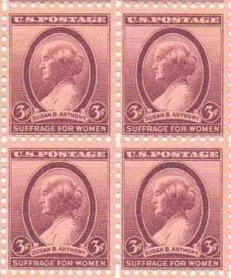 3 Cent Postage Stamp (Susan B Anthony,Womens Suffrage Set of 4 x 3 Cent US Postage Stamps Scot)