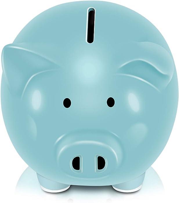 Koicaxy Piggy Bank, Child to Cherish Ceramic Pig Money Piggy Banks for Boys Girls Kids (Blue)