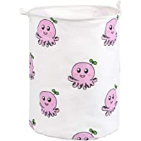 Canvas Octopus Round Storage Basket with Handle Large Organizer Bins for Dirty Laundry Hamper Baby Toys Nursery Kids…