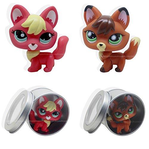 tongrou 2pcs #807 #2642 Rare Littlest Pet Shop Firefox fox Dog Lps Animal TOY - Littlest Pet Shop Table Cover