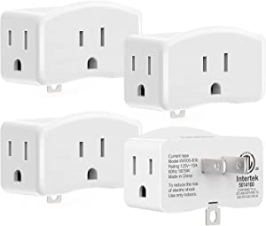 3 Prong to 2 Prong Adapter with Grounding Plug, AUOPRO Muitiple Wall Plug Extender with 3 AC Outlets, Turn 2-Prong Outlets into 3 Prong, ETL Listed, 4 Pack, White