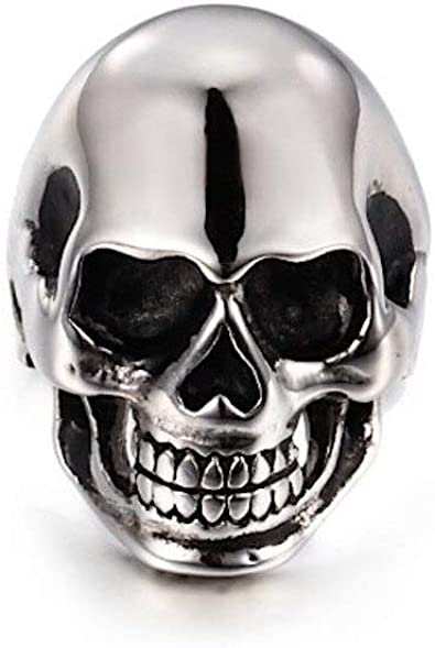Anillo para hombre, dise�o de calavera de plata y acero inoxidable, talla 12 US/67 FR