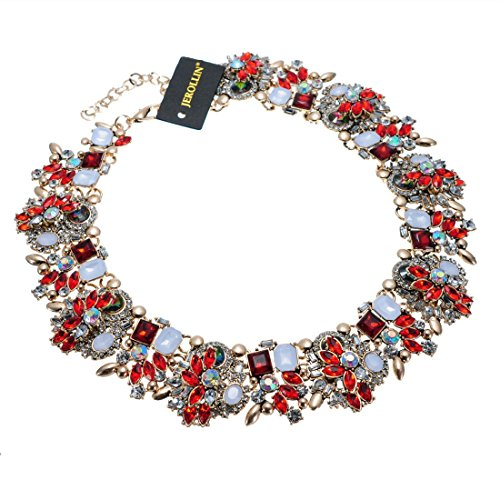 Jerollin Crystal Statement Necklace (Earrings Set), Vintage Chunky Chain Choker Bib Statement Necklace Fashion Costume Jewelry Necklaces (Set) for -