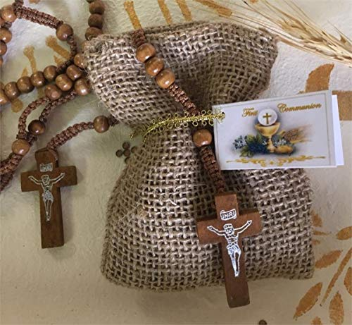 First Communion Favors of Wooden Rosary in a Burlap Bag with Personalized Communion Italian Tag - Set of 10 -