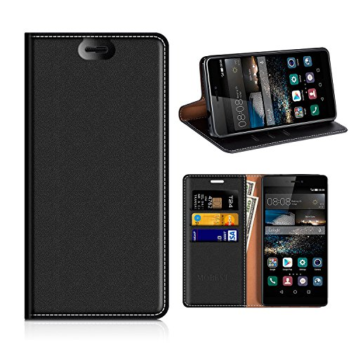 Huawei P8 Wallet Case, Mobesv Huawei P8 Leather Case/Phone Flip Book Cover/Viewing Stand/Card Holder for Huawei P8, Black