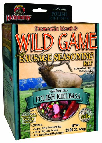 Hi-Country Snack Foods Domestic Meat and WILD GAME 23.06 oz. Polish Kielbasa Home Made Dinner Style Sausage Spice Kit