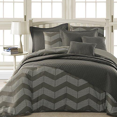 Comfy Bedding Spot Chevron Microfiber 5-Piece Comforter Set (Queen 5-piece, Grey)