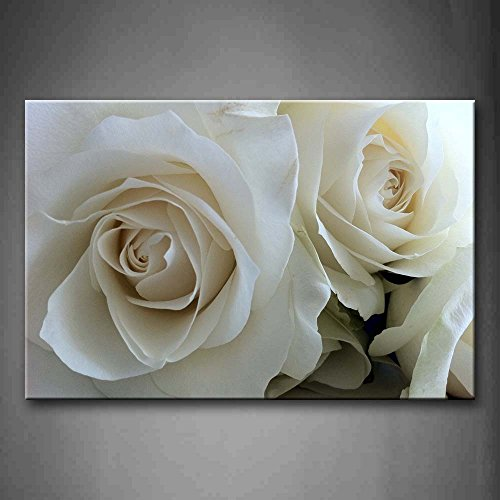 First Wall Art - Huge Roses In Pure White Wall Art Painting Pictures Print On Canvas Flower The Picture For Home Modern (Rose Flower Picture)