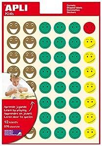 Apli 835220 - Bolsa de 12 hojas de gomets con cara sonriente