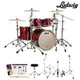 Ludwig USA Keystone 3 Pc Drum Kit in Red Oyster (LK7243KXTQRP) - Includes: Hardware, Drumsticks & Survival Guide