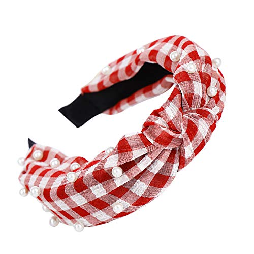 hitonsmusu Plaid Stripe Faux Pearl Women Girl Knotted Hair Hoop Band Headband Headwear Gift Red ()