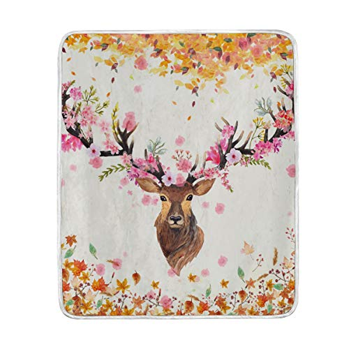 ZOEO Deer Flannel Fleece Luxury Blanket Floral Fall Bed Couch Plush Microfiber Throw Lightweight Super Soft Cozy Warm 50x60 inch