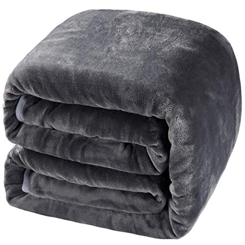 "BALICHUN Soft Fleece Queen Blanket Winter Warm Brushed Flannel Blankets All Season Lightweight Thermal Throw for Bed, Sofa or Couch Dark Grey 90"" 90"""