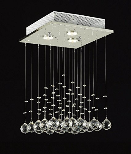 Saint Mossi Chandelier Modern K9 Crystal Raindrop Chandelier Lighting Flush Mount LED Ceiling Light Fixture Pendant Lamp for Dining Room Bathroom Bedroom LivingroomGU10 Bulbs Required H18 X W12 X L12
