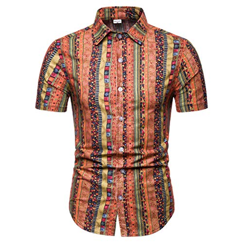 - Men's Casual Button-Down T Shirts Standard-Fit Tropical Hawaiian Shirt Casual Button Down Short Sleeve Basic Shirts
