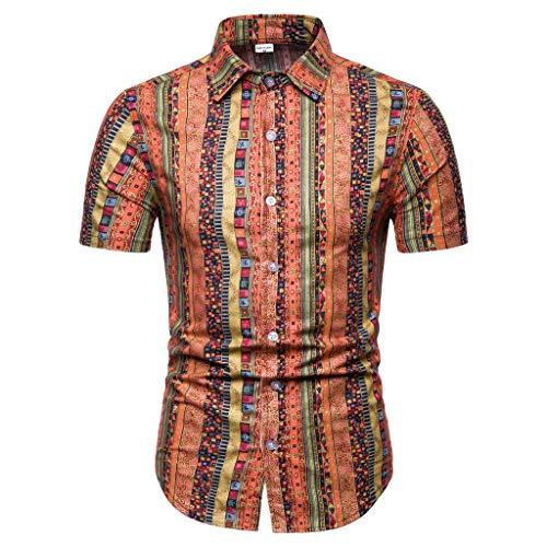 (Men's New Short Sleeve Ethnic Shirt Pattern Casual Fashion Printing Lapel Top)