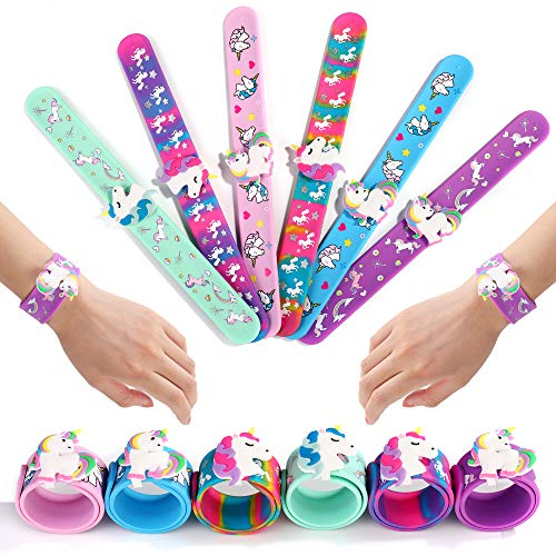 FROG SAC 6 Unicorn Slap Bracelets for Kids, Girls and Women - Girls Unicorn Theme Birthday Party Favors and Supplies - Unicorn Charm Silicone Snap Bracelet Set - Holiday Stuffers, Goodie Bag Fillers