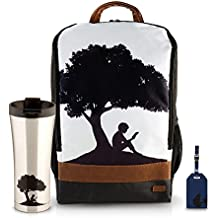 Kindle Gear Gift Bundle including Backpack, Luggage Tags (x2, Blue), and Travel Coffee Mug