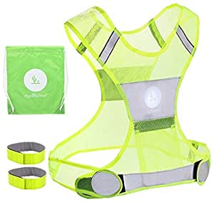Reflective Vest for Running or Cycling Including Two 3M Scotchlite Safety Reflective Bands (Women and Men, with Pockets, Gear for Jogging, Biking, Walking)