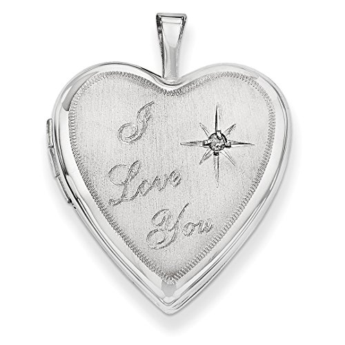 ICE CARATS 14k 20mm White Gold I Love You Diamond Heart Photo Pendant Charm Locket Chain Necklace That Holds Pictures Fine Jewelry Ideal Mothers Day Gifts For Mom Women Gift Set From Heart by ICE CARATS