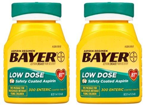 Bayer Aspirin Regimen, Low Dose (81 mg), Enteric Coated, 300 Count (2 Pack) (Bayer Aspirin Regimen For High Blood Pressure)