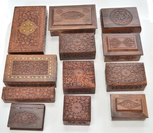 Rosewood Jewelry Chest - 12 Pcs Handmade Rosewood Hand Carved Wood Chest Jewelry Box
