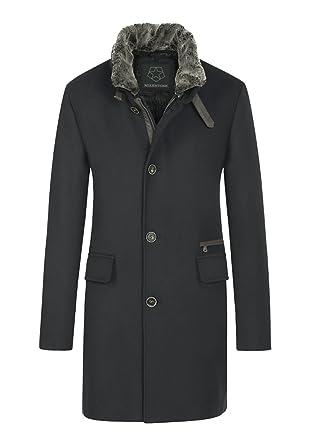 Mantel, schwarz, tailliert, Kunstfellkragen