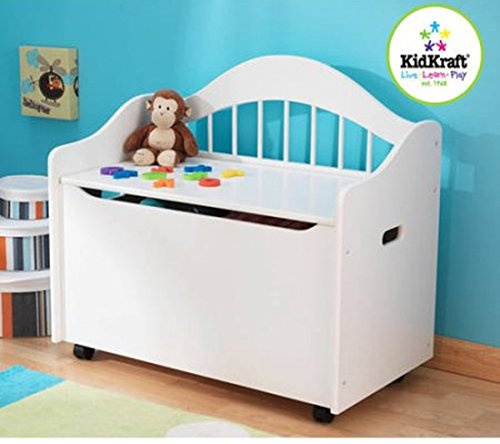 White Limited Edition Toy Box, Toy Chest Keeps Room Tidy with Clear of Clutter, Helps Teach the Need of Getting Organized, Roomy Storage, Doubles as a Bench Bundle with Expert Guide for Better Life by Home X Style