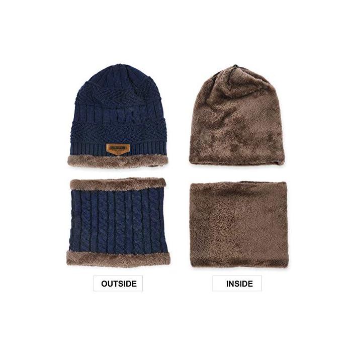 51ChsbmtLjL Gorro de punto y bufanda con forro polar grueso y cómodo Tejido fino de punto acrílico Acrylic knit & fleece lining