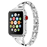 Huishang Apple Watch Accessories , Women Jewelry Bangle Metal Stainless Steel Adjustable Bracelet with Rhinestone 38MM Editions Wristband for Apple Watch ( Metal Silver 38mm )