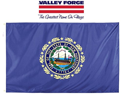 Valley Forge, New Hampshire State Flag, Nylon, 3'x5', 100% Made in USA, Canvas Header, Heavy-Duty Brass Grommets