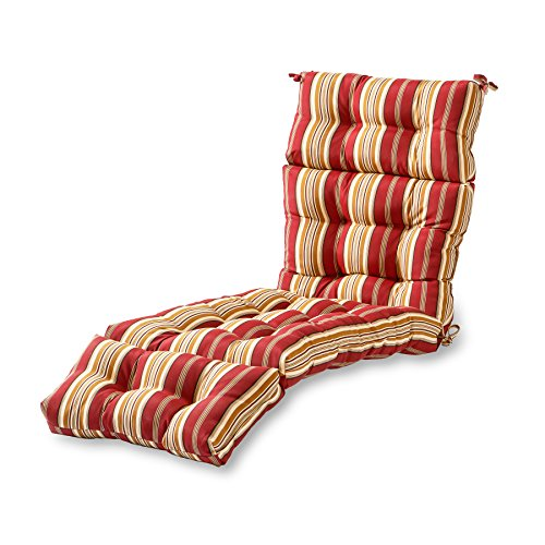 Greendale Home Fashions 72-Inch Patio Chaise Lounger Cushion, Roma Stripe Red Outdoor Chaise
