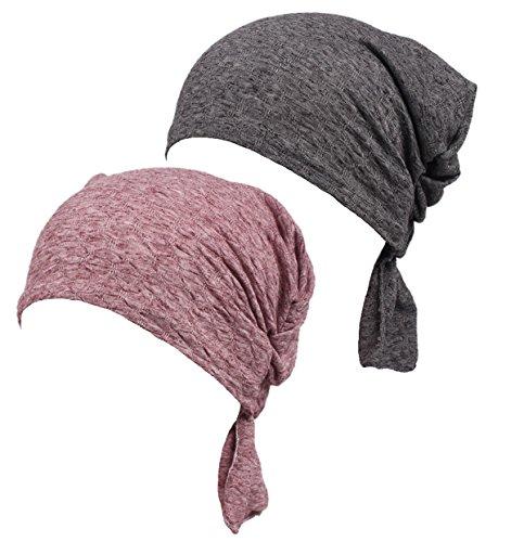 DancMolly Ruffle Chemo Turban Cancer Headband Scarf Slouchy Beanie Cap Muslim Scarf Headwear for Cancer (Gray+Red)