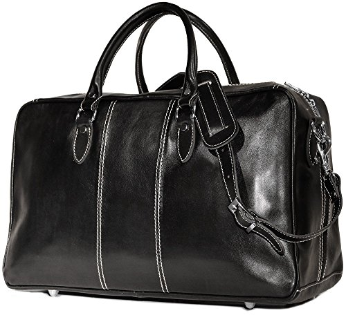 Floto Luggage Venezia Trunk Duffle Bag in Black Leather by Floto