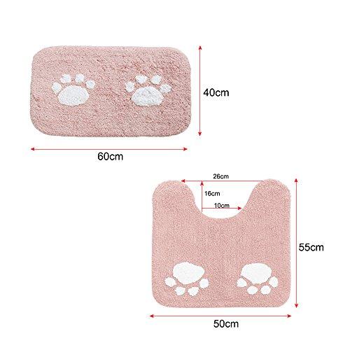 ELEOPTION Bath Mat Sets for Bathroom, 2 Piece Non Slip Bathroom Rug Set and Contour Mat Non-Slip Pedestal Super Absorbent Machine Wash (Pink) by ele ELEOPTION (Image #2)