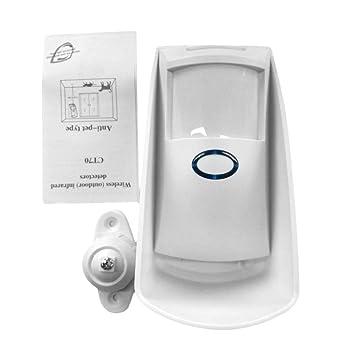 Petterson Portátil Inalámbrico Inalámbrico Doble Infrarrojo Filtro de Microondas Detector de Movimiento Sensor de Bajo Consumo para Seguridad en el Hogar ...