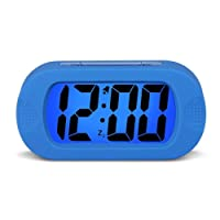HENSE Large Digital Display Alarm Clock With Snooze, Night Light And Light Sensor Function, Large LCD Display Shockproof Silicone Protective Cover, Simple Setting, Progressive Alarm, Batteries Powered, Operated For Travel ,Office and Home Bedside Alarm Clock HA30