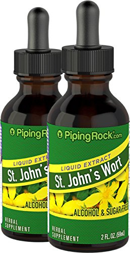 Wort Liquid Extract (Piping Rock St. John's Wort Liquid Extract 2 Dropper Bottles x 2 fl oz (59 mL) Alcohol & Sugar Free)