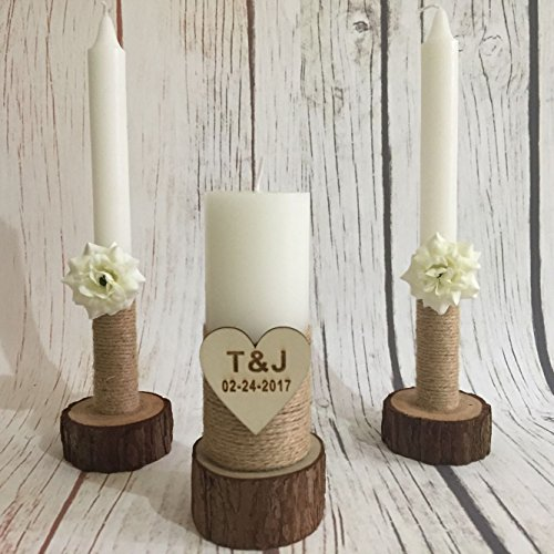 Personalised Wedding Unity Candle Set with Wood Candles Holders, Custom Wedding Candles, Rustic Wedding Candles Custom Wedding Gift