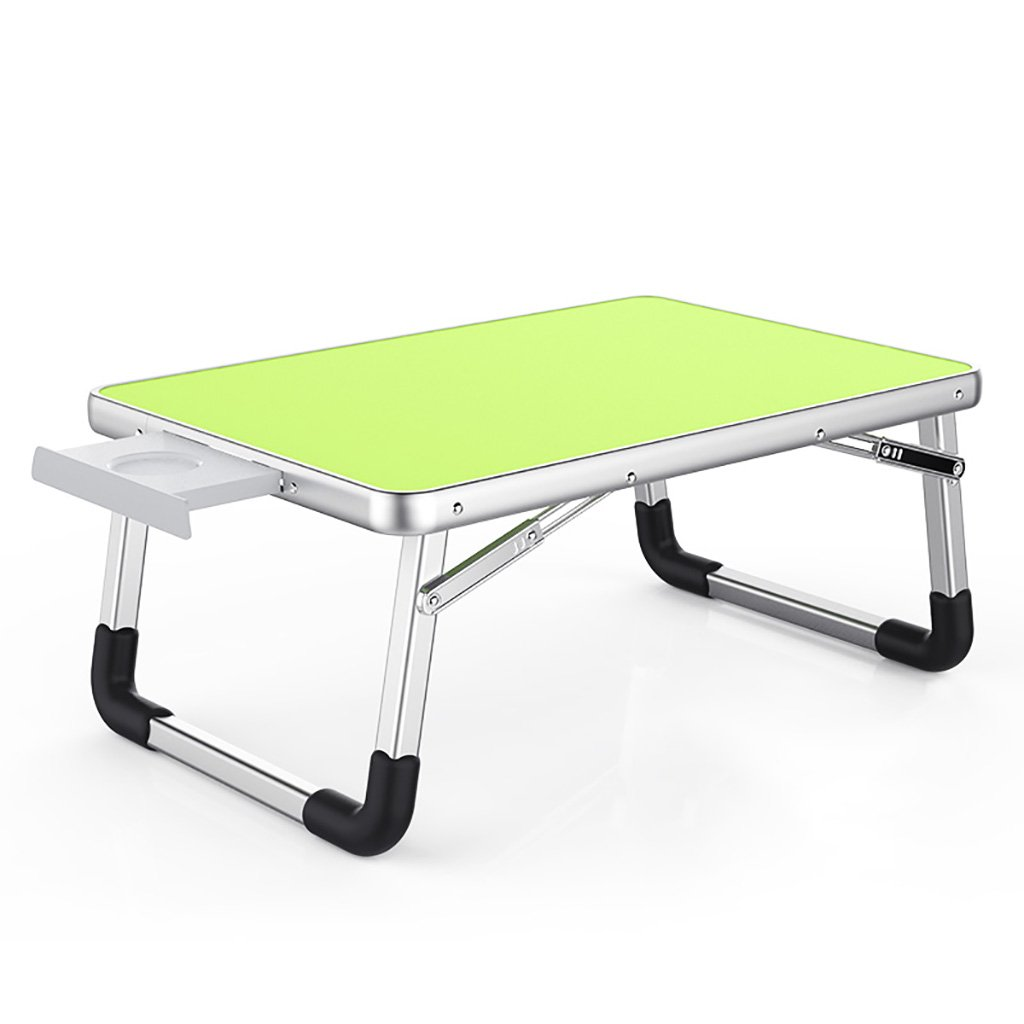 Aluminum folding table, simple computer table, convenient to carry, water cup holder (Color : Green)