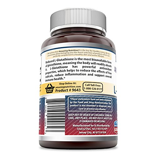 Amazing Formulas L-Glutathione 500mg 60 Vcaps - Antioxidant Properties Helps Reduce Free Radical Damage - Helps Reduce Inflammation - Supports Immune Health Discount